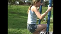 y. plays in the park and flashes her body