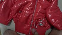 Cum on my Girlfriend's Shiny Nylon Jacket