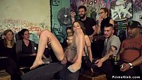 Brunette throat and pussy fucked in bar