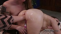 Threesome lesbian anal fisting and toying