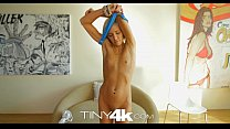 Tiny4K Petite blonde swallows and takes huge cock in 4K