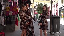Bound slaves in see through dresses walk in public
