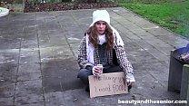 Homeless teen fucks granddad in the park for little cash
