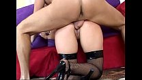 Blonde has kinky anal sex in fishnet stockings