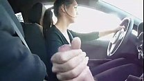StepSister jerks brother while driving-see more at cum2her.com
