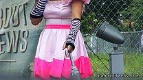 Costumed teen hitchhiker banged huge cock outdoor