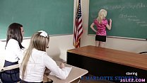 Schoolgirls play a game with their lesbian teacher - Charlotte Stokely, Scarlett Sage and Alex More
