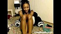 Oiled ebony camgirl toys pussy