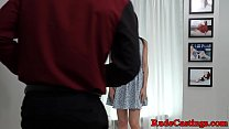 Deepthroating amateur facialized at casting