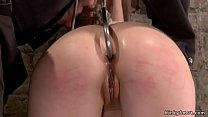 Brunette sub is anal hooked on hogtie