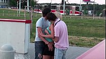 Incredible extreme public sex teen threesome gangbang orgy with cute blonde girl