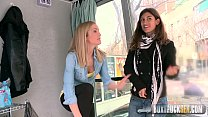 Hot Julia Roco and Sicilia Play with a Realistic Dildo in Public
