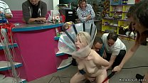Blindfolded blonde rough fucked public