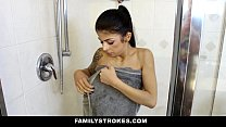 FamilyStrokes - My step-brother (Sadie Pop) always knows when I'm In the shower