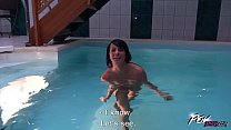 Brunette With Flat Chest Pounded in a Public Pool POV