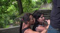 Mistress made sub deep throat in public