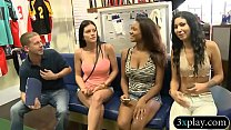 Hot girls convinced to flash their tits for some money