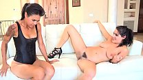 Two beautiful black-haired girls have a sparkling lesbian encounter