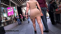 Shapely Latina in Tan Colored Super Short Dress