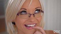 Horny blonde secretary Zazie Skymm fucks a Dildo in the Office