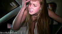 Cum on Alexis Crystal face in PUBLIC gang bang orgy through a car window