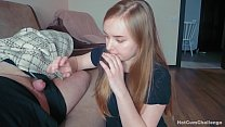 Naughty daughter decided to secretly suck daddy's cock while he s., making a deep throat