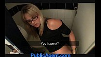 PublicAgent Blonde cafe waitress fucks in the staff toilets