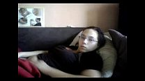 Caught my young aunt masturbating in couch. Hidden cam