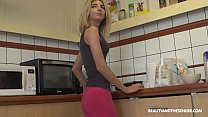 Skinny teen daughter takes daddy's thick cock in her coochie