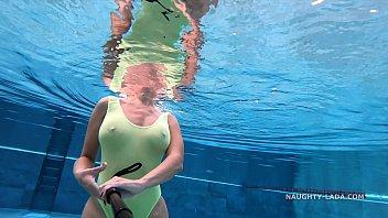 My transparent when wet one piece swimwear in public pool