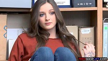 Blue eyed brunette teen thief got caught by a mall cop